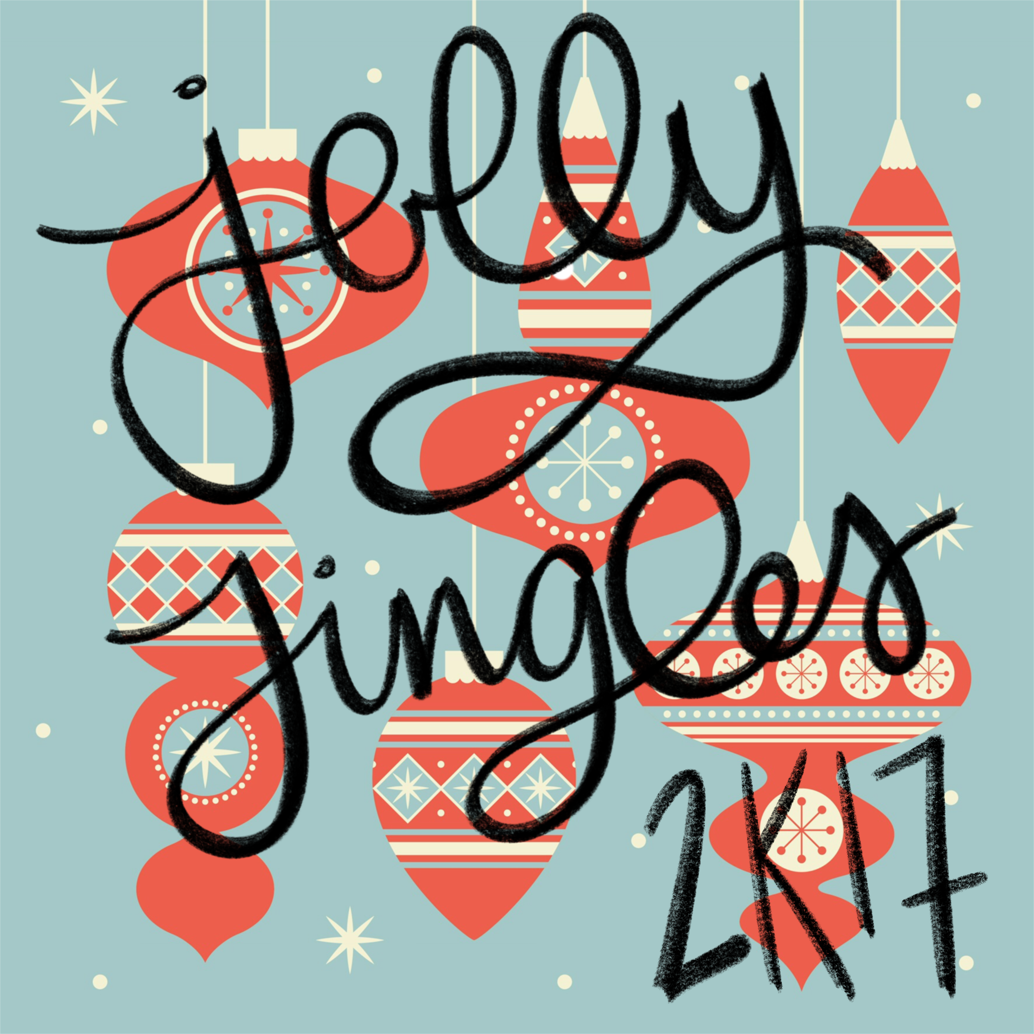 christmas ornament background with jolly jingles 2k17 in chalky script
