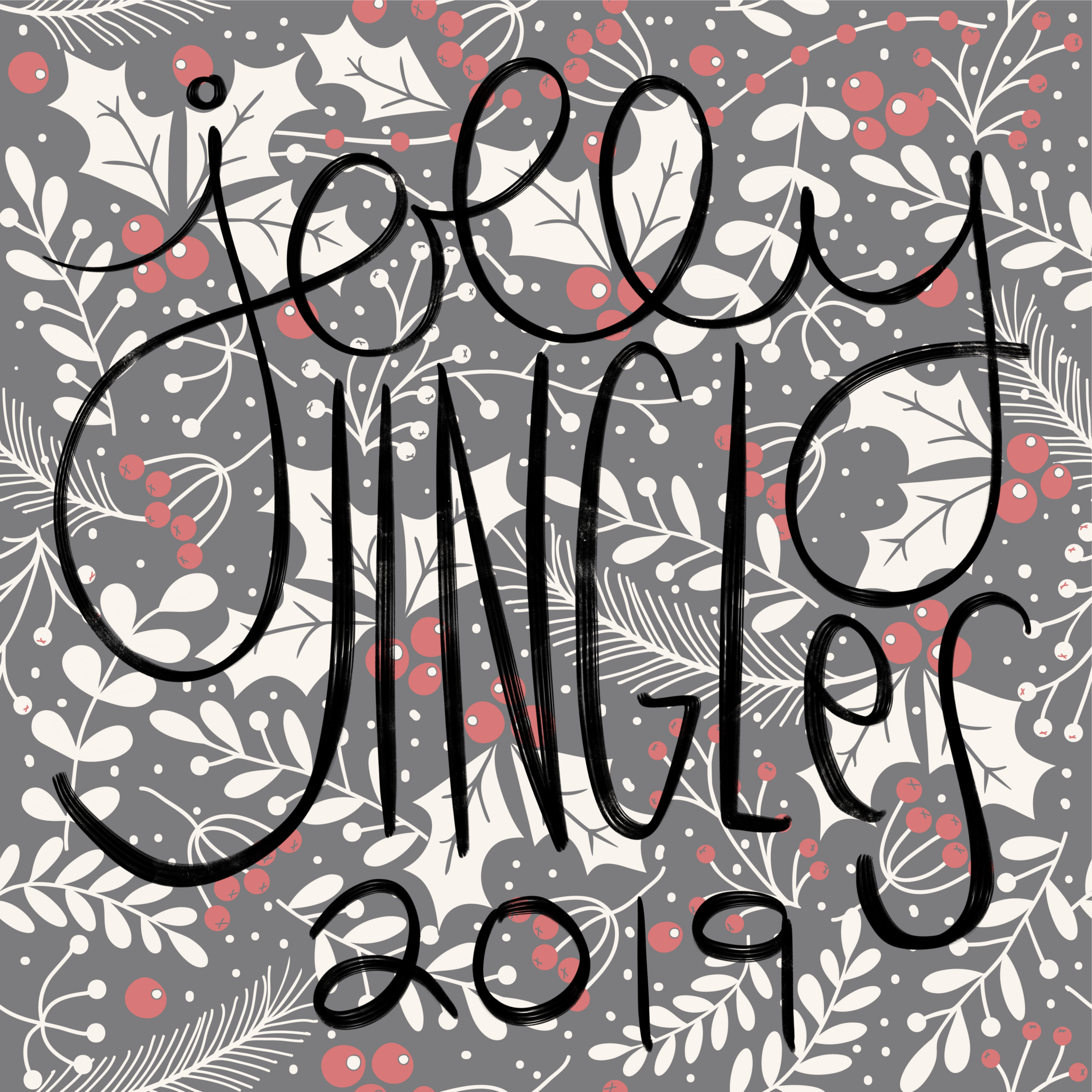 black white and red holly background with jolly jingles 2019 in handwritten script