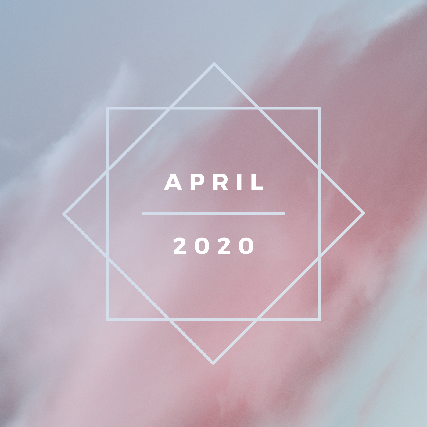a square image of a gray-blue sky with a thick streak of pink clouds with two interlocking white boxes and white text saying april 2020