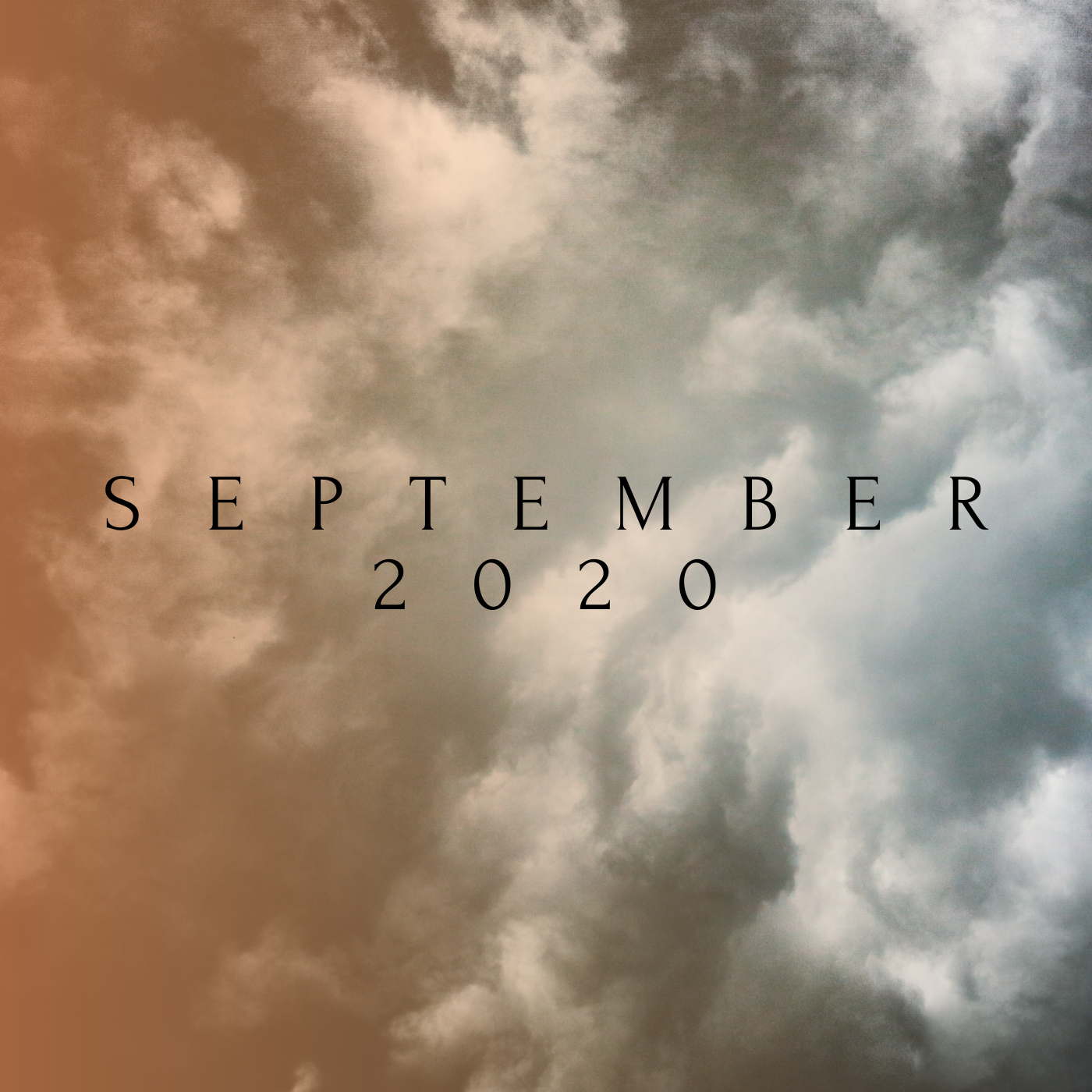 a square image of orange and gray clouds that reads september 2020