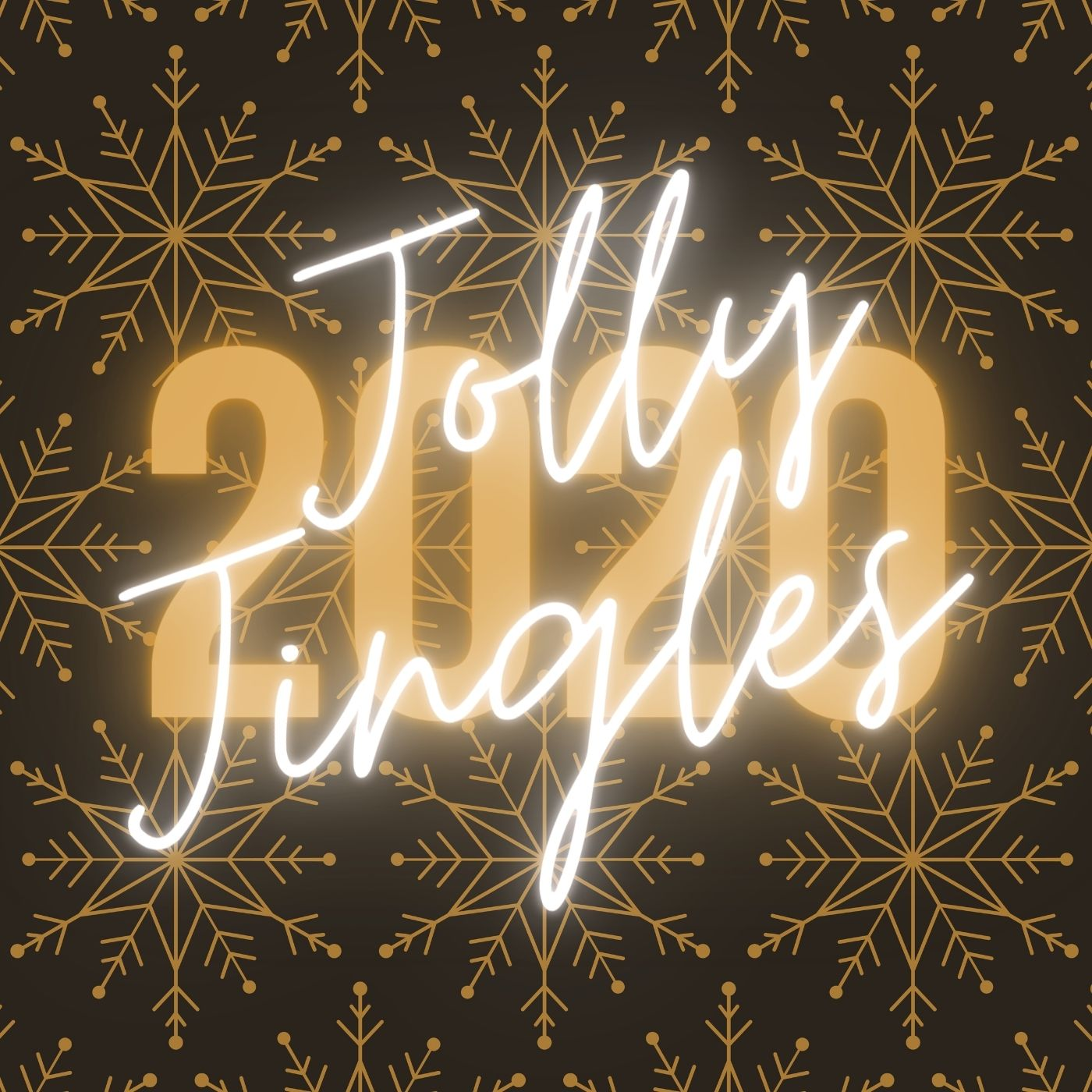 a square image of repeating gold snowflakes with neon writing saying jolly jingles 2020